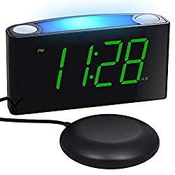 Loud Vibrating Alarm Clock with Super Bed Shaker for Heavy Sleepers Deaf Elderly Kids, Bedrooms Home Desk - Digital Clock, 7'' Large Display & Full Dimmer, Night Light, USB Ports, Dual Alarm,12/24 H