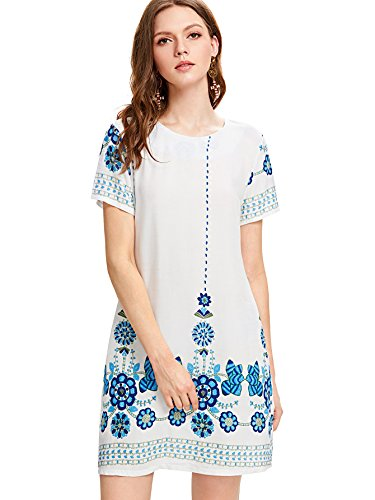 - Milumia Women's Bohemian Aztec Print Ethnic Style Summer Shift Dress Medium White-Blue