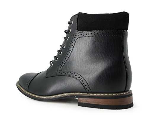 Enzo Romeo Otw4n Heren Chukka Enkellaarsjes Captoe Voor Winter Lace Up Oxfords Laarzen Zwart