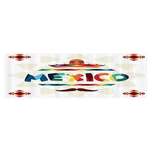 Decorative Aquarium Background Poster Mexico Traditial Aztec Motifs and Sombrero Straw Hat Moustache Sticker Wallpaper Fish Tank 29.5