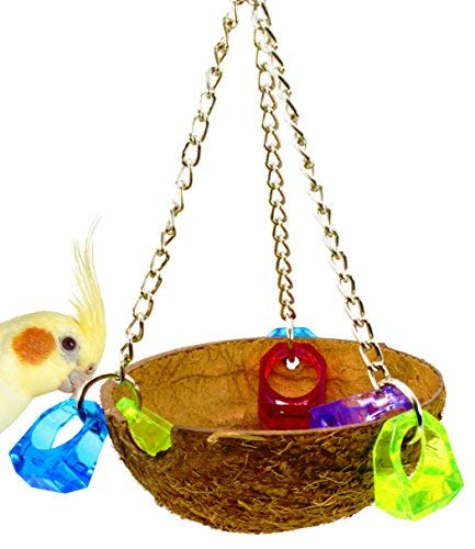 Bonka Bird Toys 982 Coco Cup Bird Toy parrot cage toys conure amazon african grey conure nest swing perch feeder. Quality Product Hand Made in The - Bird Feeder Coconut
