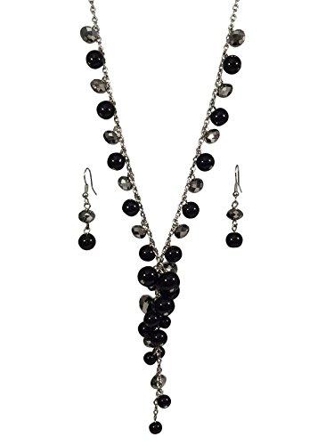 Short Tassel Drop Beaded Imitation Pearl Necklace & Dangle Earring Set (Black and Grey)
