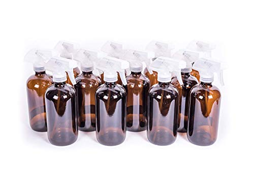 My Oil Gear 8oz Amber Glass Bottle with Trigger Sprayer for Essential Oils (12-pack)