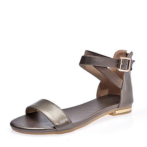 SLC03660 Peep Flats Square Shoes Heels Buckles Gold AdeeSu Womens Pleather Toe Metal qwgfAv