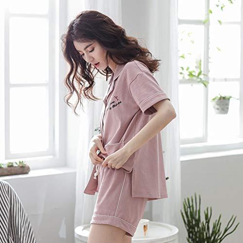 cotone comfort indossato Pink estate Size risvolto casual pigiama Pink a Color può corte nightclothes cotone essere Pigiama casa suit estate nightshirt L moda indossare estate maniche 4AwxWTH