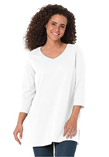 Women's Plus Size Top, The Perfect Petite Tunic With 3/4 Sleeves White,L