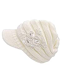 ArRord Women Winter Warm Flower Knit Hat Beanie Snow Ski Caps With Visor