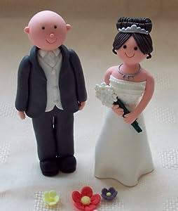 Brunette Bride And Bald Groom Cake Topper