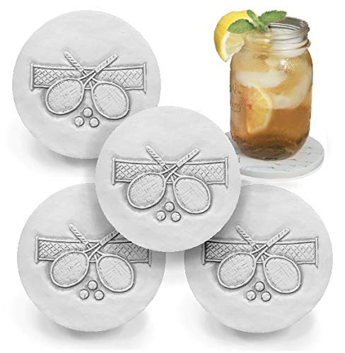 (Drink Coasters by McCarter Coasters, Tennis, Absorbent, Light Beige 4.25 inch (4pc))