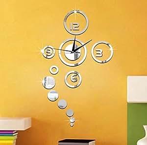 Reloj de pared con adhesivos para decoraci n de habitaci n - Amazon decoracion pared ...
