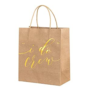 Ling's moment Set of 12 Gold Embossed I Do Crew Kraft Paper Bachelorette Bags Bridesmaid Bags Bridal Party Gift Bags