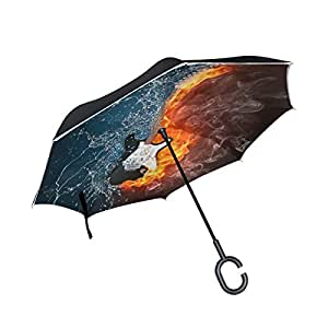 ALAZA Music Note Fire Water Guitar Inverted Umbrella, Large Double Layer Outdoor Rain Sun Car Reversible Umbrella