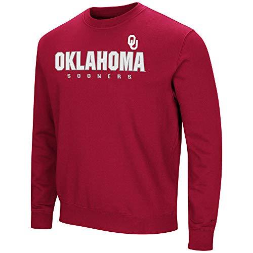 Oklahoma Crew Sweatshirt - Colosseum University of Oklahoma Sooners Sweatshirt Playbook Crew Neck Fleece (Small)