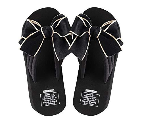 (Nite closet Lolita Sandals Bowknot Flip Flop for Women Cute Gothic Black Thong Sandals Size 7)