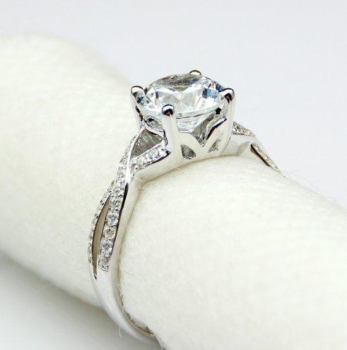 Gowe You would BE Bande en diamant 1carat véritable moissanites Lab Cultivées Diamant 9K Or blanc Bague de fiançailles pour femme Mariage Bijoux Anneaux