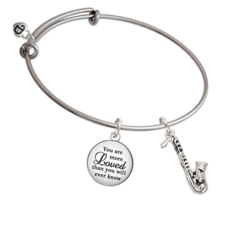 Delight Jewelry Silvertone Saxophone You are More Loved Bangle Bracelet
