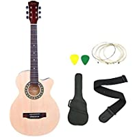 Zabel Elletra Series Acoustic Guitar With Truss Rod, Natural, Combo With Bag, Strap, One Pack Strings And Picks