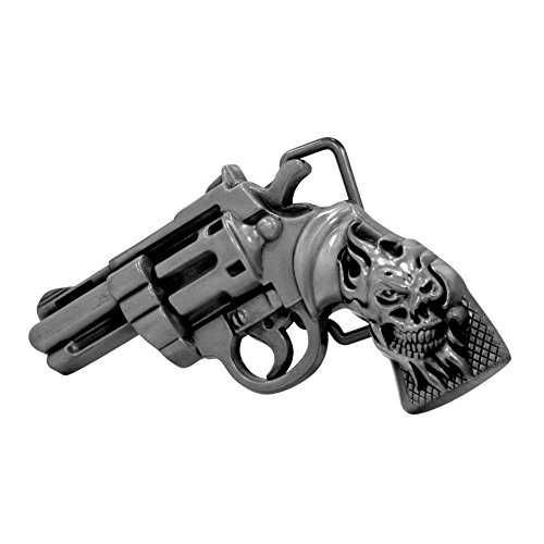Buckle Rage Adult Men's Flaming Skull Hand Gun Skull Revolver Belt Buckle Silver (Hand Belt Buckle)