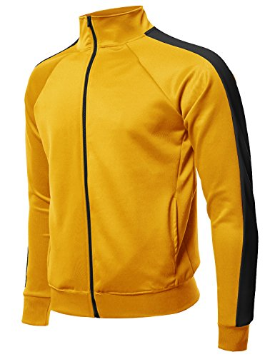 Premium Quality Shoulder Panel Zip-up Track Jacket Yellow Black S by Style by William