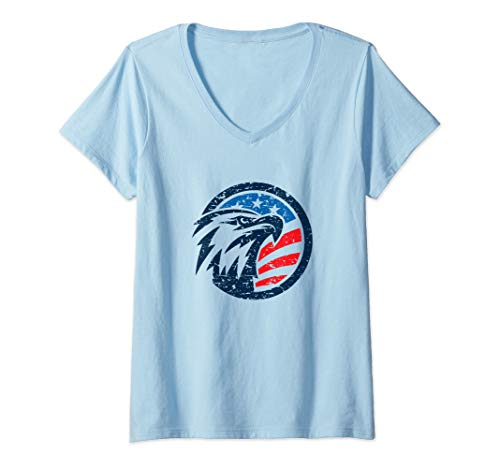 Womens 4th of July Shirt USA American Flag Vintage Patriotic Eagle  V-Neck T-Shirt