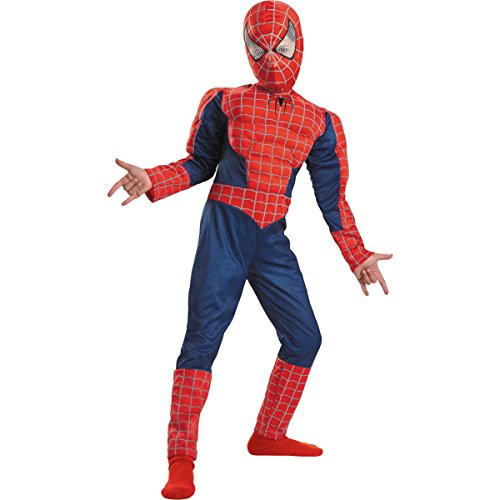 Spider Man 3 Muscle Costumes (Child Spiderman Muscle Costume - Quality Edition 7-8)