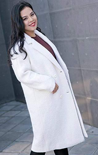 Abrigos Blanco Moda Outerwear Solapa Mujeres Battercake Con Retro Bolsillos Largos Parkas Casual Invierno Manga Mujer Botonadura Colores Lana Sólidos Casuales Doble Elegantes De Larga Abrigo Gabardina Otoño 4xIFqS