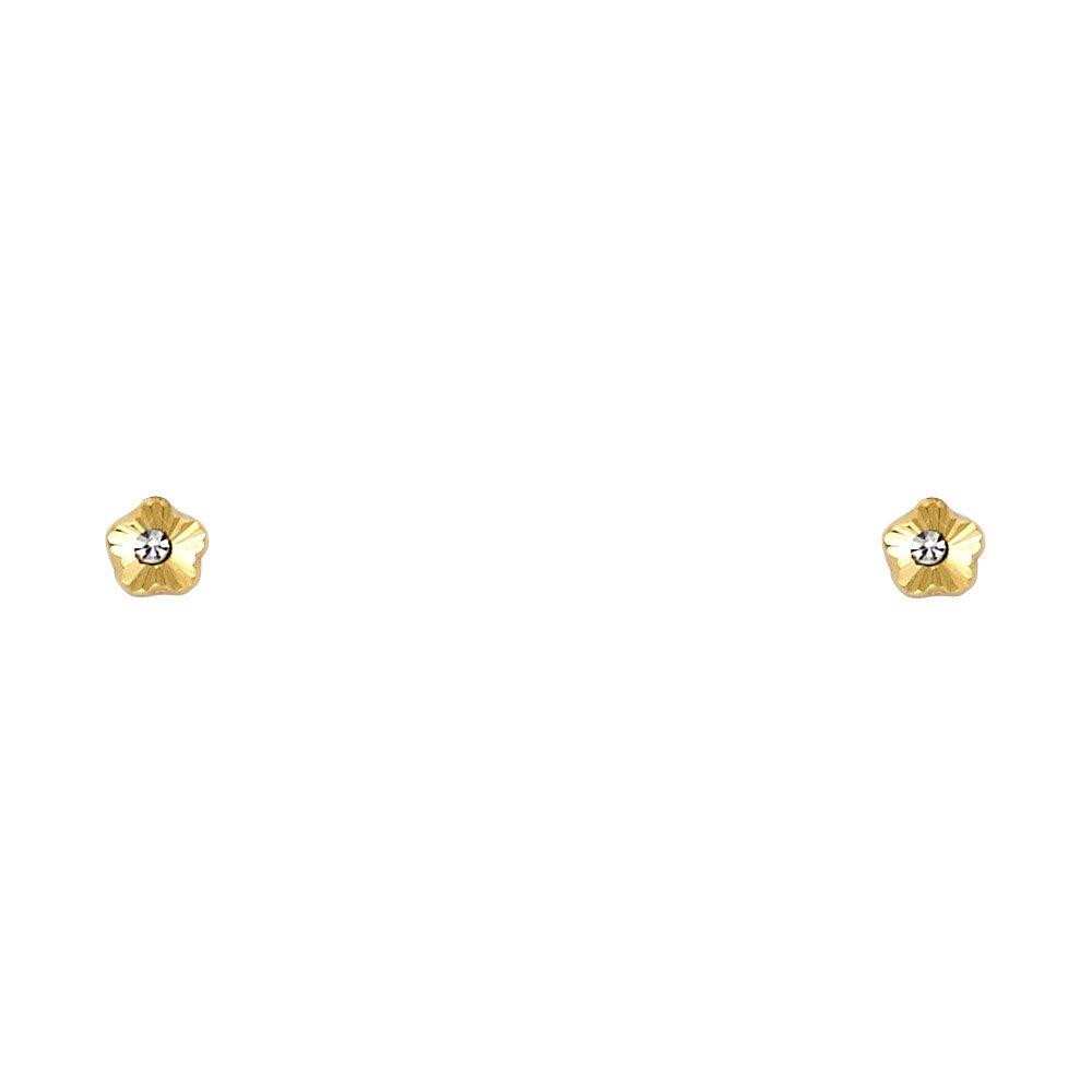 Wellingsale 14K Yellow Gold Polished 4mm Flower Stud Earrings With Screw Back
