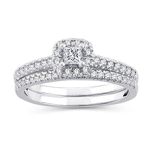 (1/2 CT. T.W. Princess-Cut Diamond Halo Framed Bridal Set in 10K White Gold (IJ/I2-I3) (8))