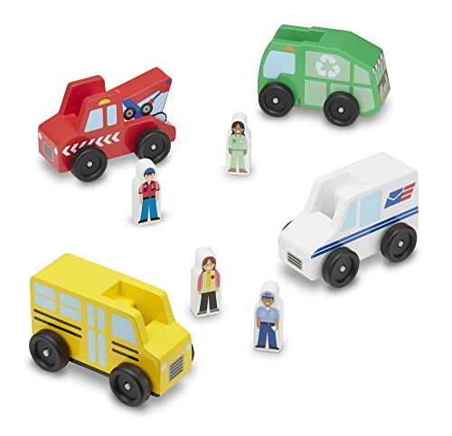 Melissa & Doug Community Vehicles Play Set - Classic Wooden Toy With 4 Vehicles and 4 Play (Classic Vehicle)
