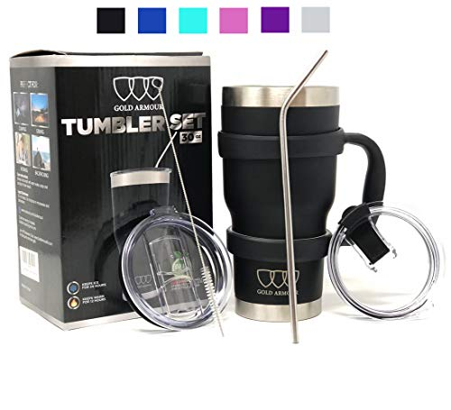 1bcf734cbe0 30 oz Tumbler - 6 Piece Stainless Steel Insulated Water & Coffee Cup Tumbler  with Straw