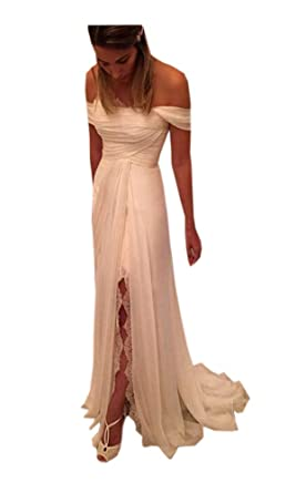 db64c3ea08bd2 Beach Wedding Dress for Women Off The Shoulder with Sleeves Splits Chiffon  2019 Lace at Amazon Women's Clothing store: