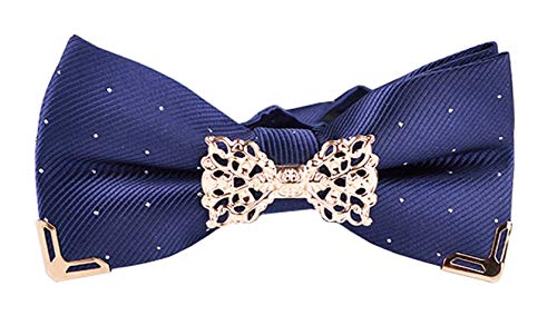 - MENDENG Men's Navy Blue Silver Dot Gold Edge Pre-tied Bow Ties Formal Bowtie