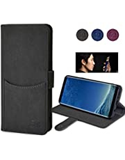 Galaxy S8 Wallet Case, Eucabulus Flip Kickstand Feature Leather Wallet Case Without Magnet with Card Holder Slot for Samsung Galaxy s8-5.8 inch (NOT for Galaxy s8 Plus) Snap Button Closure