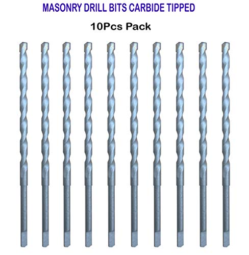 10Pcs Pack 3/16 x 4-1/2 Overall Length Carbide Tipped Tapcon Masonry Concrete Drill Bit Sand Blasted with Half Flat Shank Use on Masonry, Stone, Ceramic Tile, Bricks, Concrete and Marble