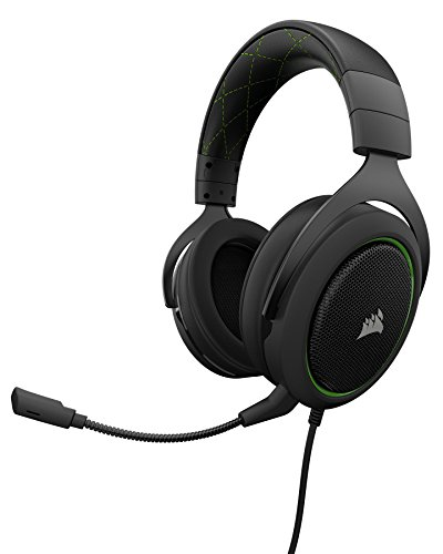 CORSAIR HS50 Wired Stereo Gaming Headset for PC, Xbox One, PS4, Nintendo Switch and Mobile Devices Green CA-9011171-NA