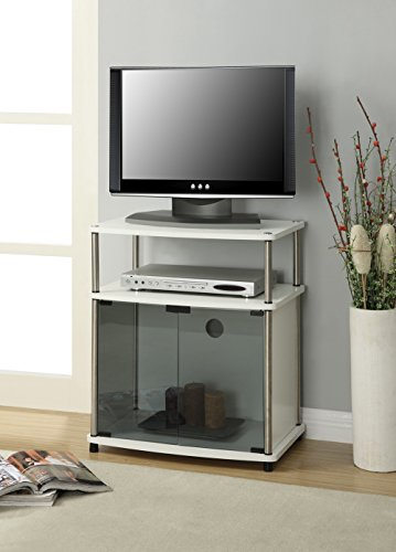 Country Corner Tv (Convenience Concepts Designs2Go TV Stand with Cabinet for Flat Panel TV's Up to 25-Inch or 50-Pounds, Black Glass, White Cabinet)