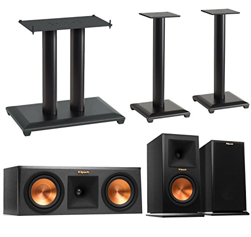 Price comparison product image Klipsch Reference Premier 3.0 Speaker System With Stands (1 Pair RP160M Bookshelf Speakers,  1 Pair Sanus NF24B Bookshelf Stands,  1 RP250C Center Speaker,  1 Sanus NFC18B Center Stand) - Ebony