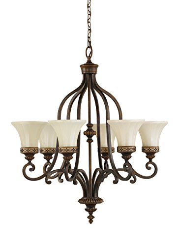 Murray Feiss F2224/6WAL Drawing Room Six-Light Chandelier in Walnut and Amber Snow Scavo Glass 5 Light Drawing Room
