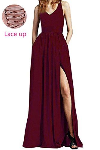 Dresses Evening Pocket Plum Chiffon Dreagel with Dress Split Long High Prom Elegant wAqAI0Z