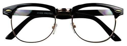 Basik Eyewear - Classic Half Frame Clear Lens Vintage Clubmaster Retro Eye Glasses (Black w/ Gold Trim, (Sexy Nerd Costume)