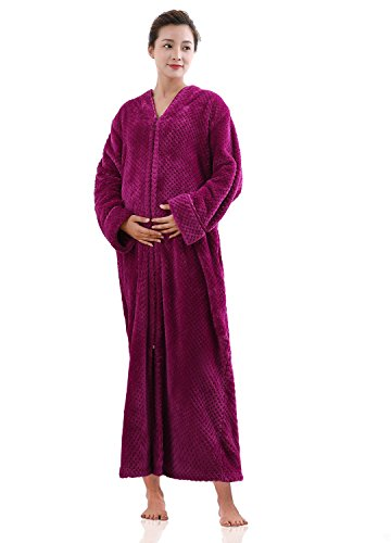 Womens Fleece Robe Plush Long Zip-Front Bathrobe with Pockets Rose