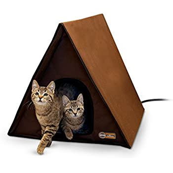 "K&H Pet Products Outdoor Heated Multi-Kitty A-Frame Chocolate 35"" x 20.5"" x 20"" 40W"