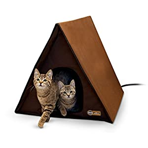 K&H Pet Products A-Frame Multi-Kitty Outdoor Heated Kitty House, Chocolate, 40W 105