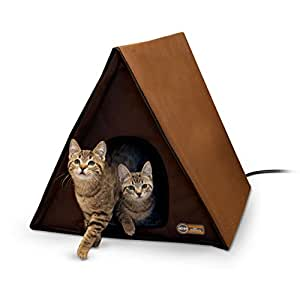 """K&H Pet Products Outdoor Heated Multi-Kitty A-Frame Chocolate 35"""" x 20.5"""" x 20"""" 40W"""