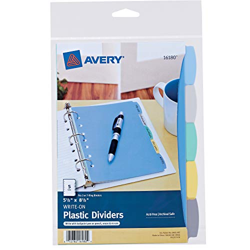 Avery 5-Tab Plastic Mini Binder Dividers, Write & Erase Multicolor Tabs, 1 Set -