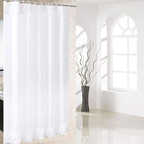Riyidecor White Lace Ruffle Shower Curtain with Metal Hooks 12 Pack French Elegant Decor Fabric Bathroom Set for Girls Polyester Waterproof Fabric for Clawfoot Tub 72x72 Inch