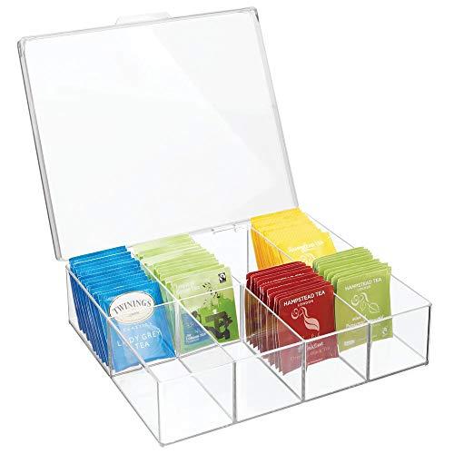 mDesign Organizador de cocina o despensa – Practica caja de plastico con tapa y con ocho apartados – Caja con compartimentos ideal para te, cafe, especias y otros alimentos – transparente