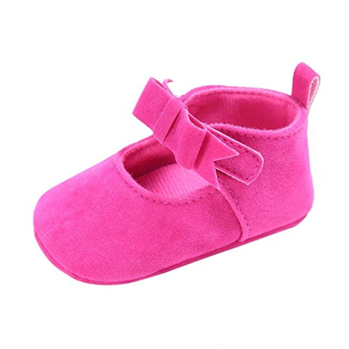 Kimloog Hot Sale! Newborn Baby Lightweight Soft Sole Mary Jane Crib Shoes Anti-Slip Bowknot Toddler Sneakers (Hot Pink, 4 M US Toddler)