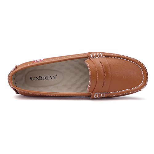 Shoes Boat Loafers Brown Light Penny Casual SUNROLAN Slip Moccasins Flats Genuine On Leather Driving Women's vwX7RqF