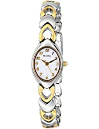 Women's 98V02 White Patterned Bracelet Watch